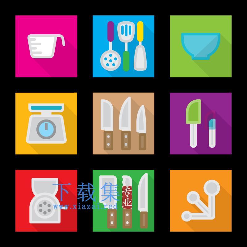 9个正方形厨房AI矢量项目图标  第1张