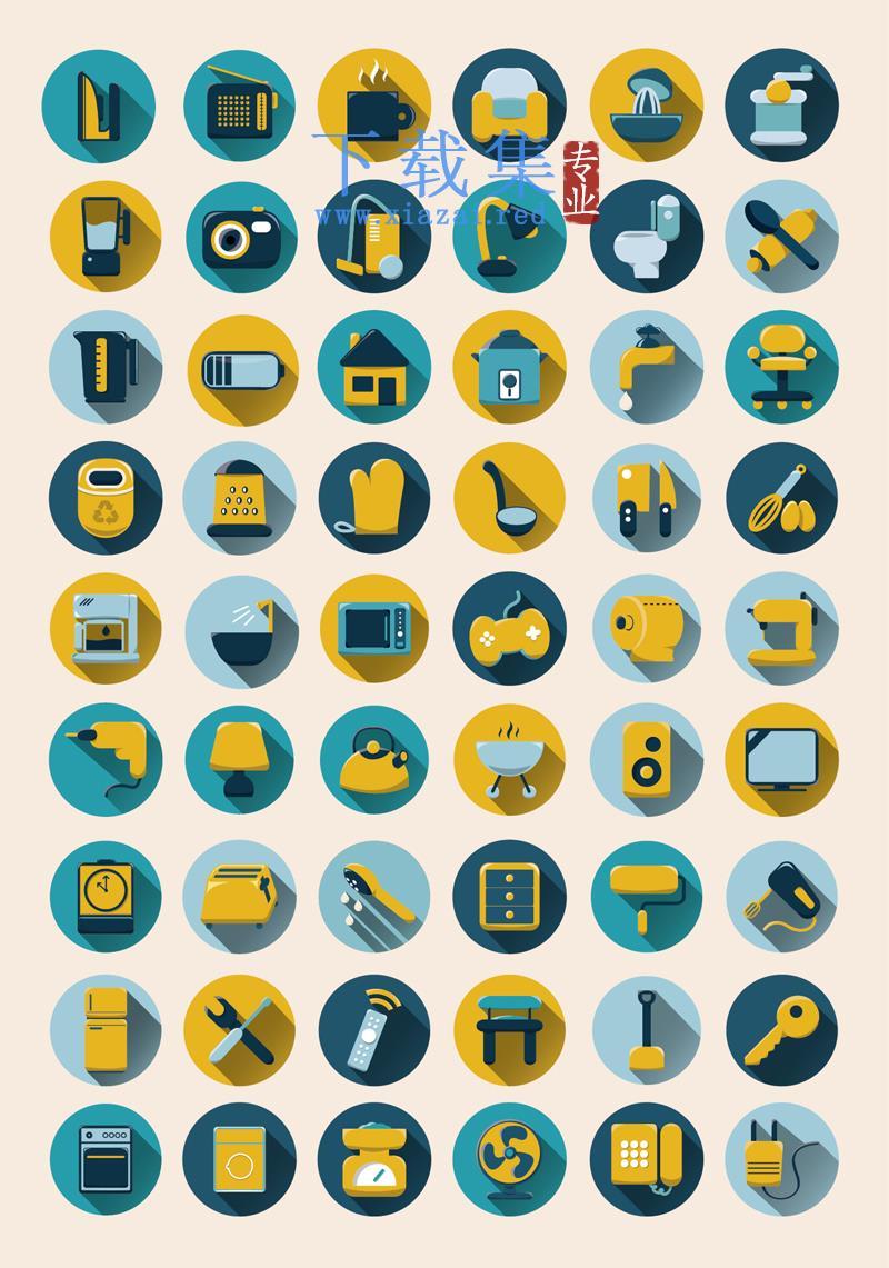 54个圆形家居用品AI图标  第1张