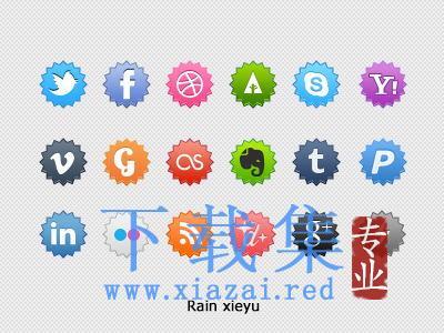 锯齿圆形网站社交平台PSD图标