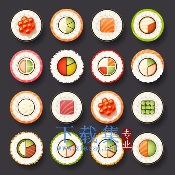 日本各种口味寿司切片EPS矢量模板  第1张