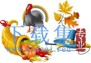 秋季图标和图形,动物,南瓜和树叶EPS矢量素材  第2张