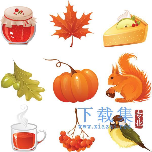 秋季图标和图形,动物,南瓜和树叶EPS矢量素材  第1张