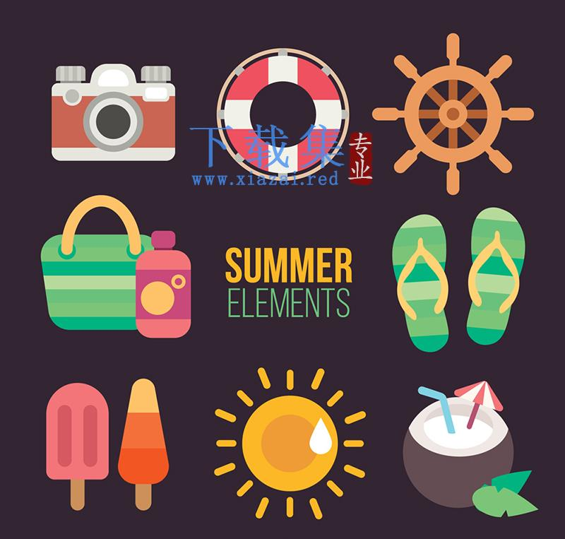 8种颜色夏季渡假旅行AI矢量素材