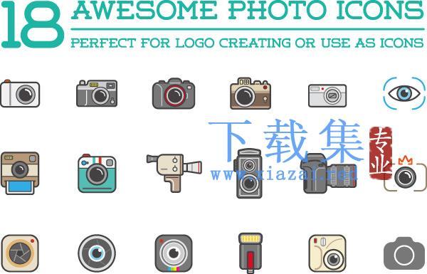 18个很棒的相机摄影器材EPS图标矢量