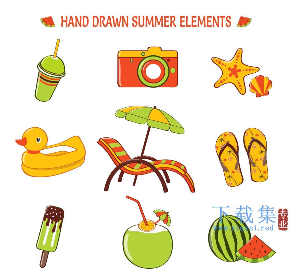 9手绘清凉夏季渡假矢量元素