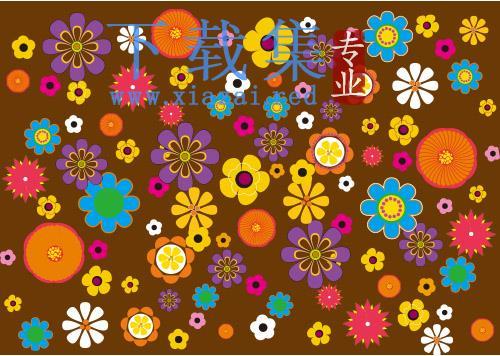 复古花卉AI矢量图案,各种颜色漂亮的小花  第1张