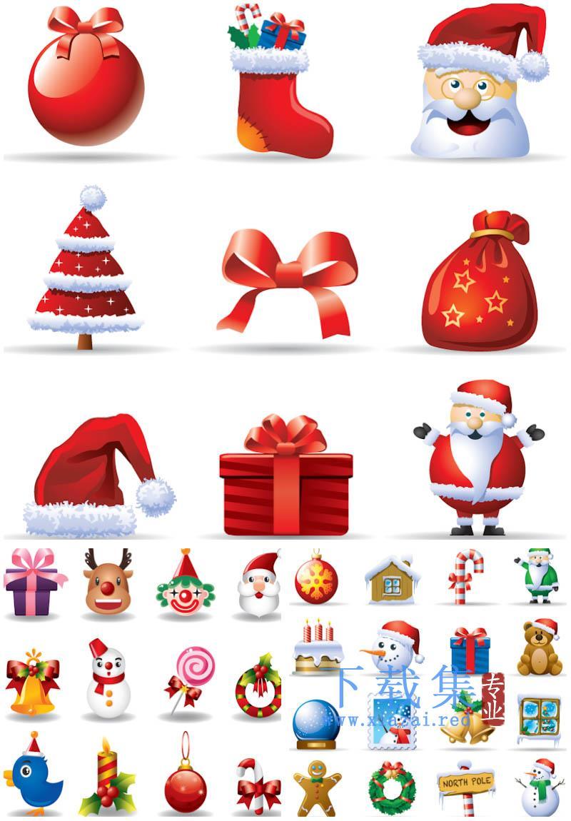 红色圣诞卡通AI矢量图标  第1张