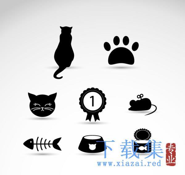 黑色猫咪元素AI矢量元素