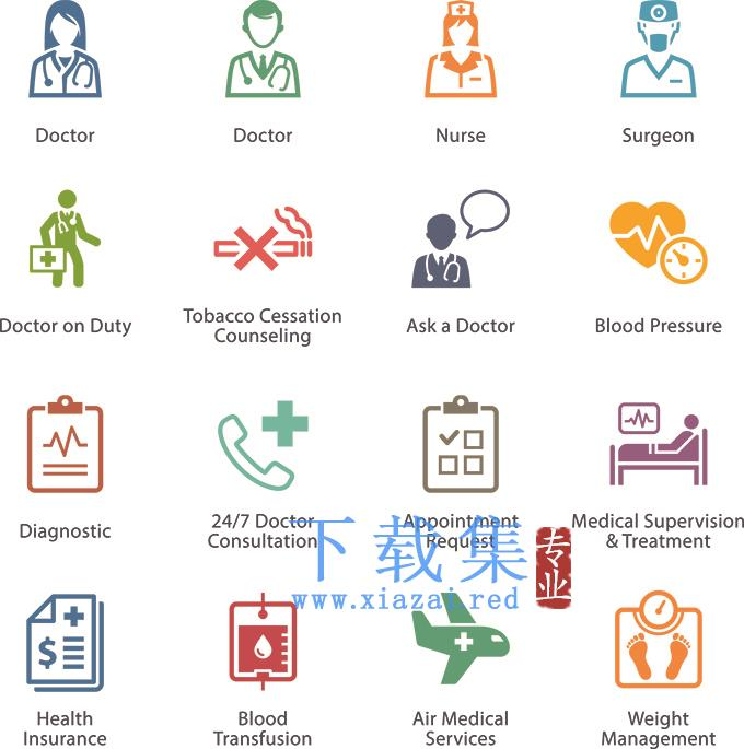 一套简单的医生护士医院元素EPS设计元素