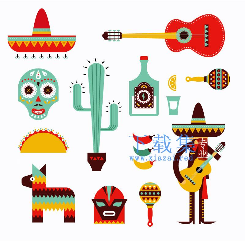 卡通墨西哥风格EPS矢量图标  第1张