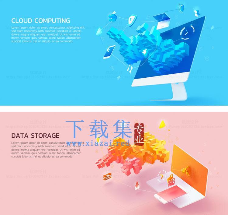 12款国外创意扁平化3D互联网banner矢量素材  第1张