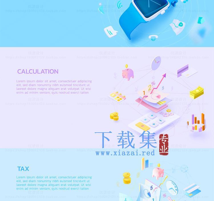 12款国外创意扁平化3D互联网banner矢量素材  第5张