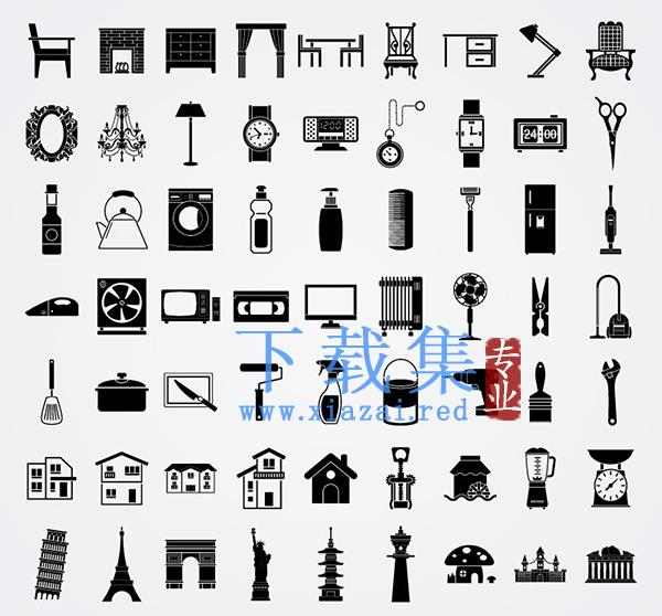 63个生活元素,家居用品AI矢量图标  第1张