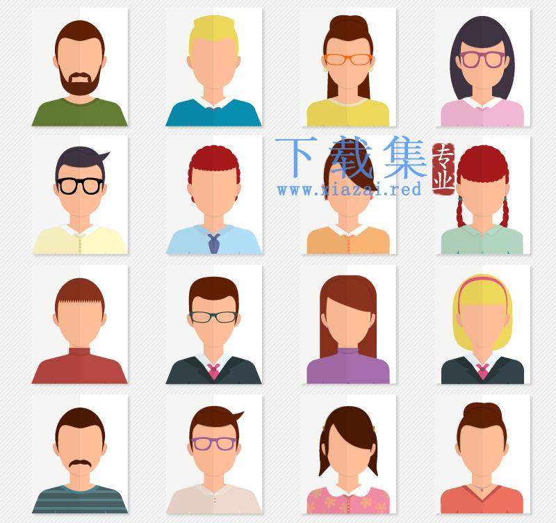 16个卡通人物上半身头像AI矢量素材
