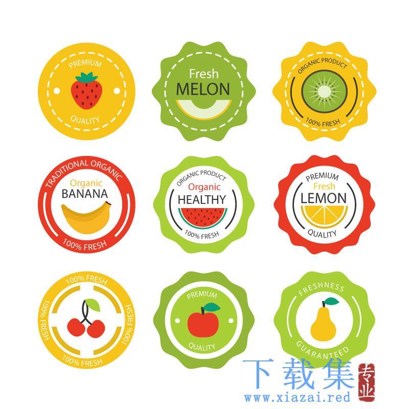 圆形复古风格水果标签EPS矢量素材