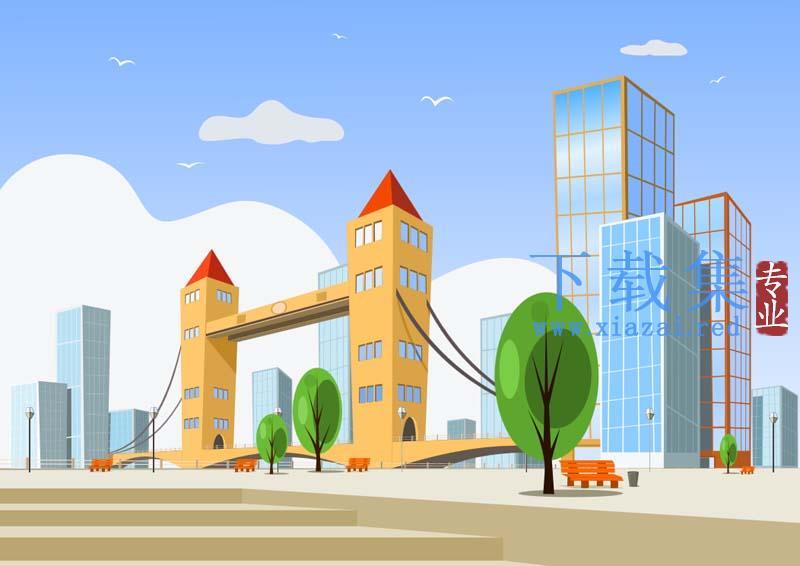 10款卡通城市SVG矢量插画