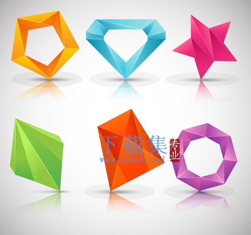 6种颜色立体多边形标志AI矢量