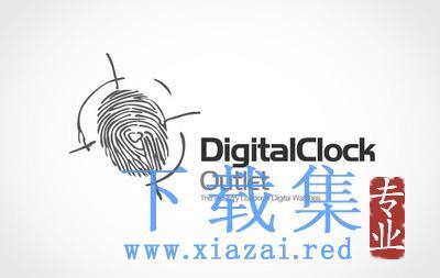 指纹图标的数字时钟LOGO标志AI矢量素材  第1张