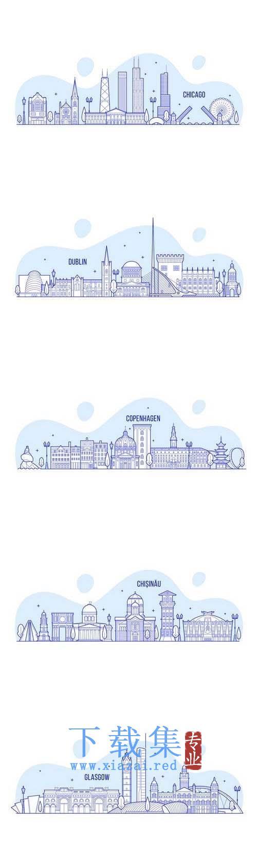 蓝色线条城市矢量插图