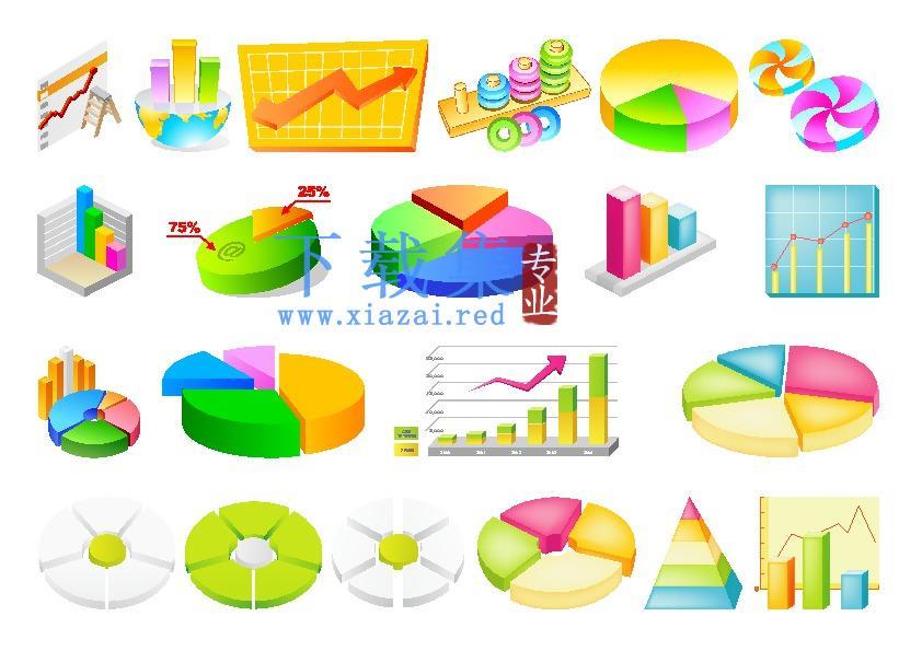 饼图和柱形图商业业务图表图标AI矢量素材
