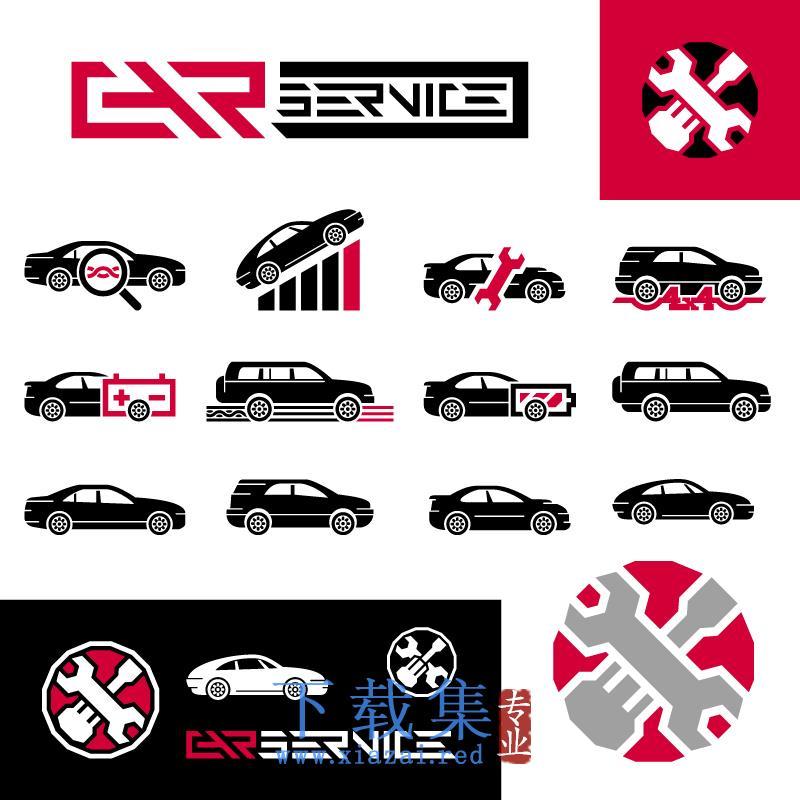 汽车修理、车辆维修EPS矢量图标