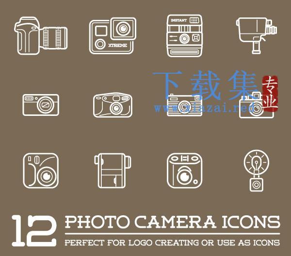12个照片相机线条图标EPS矢量(1)