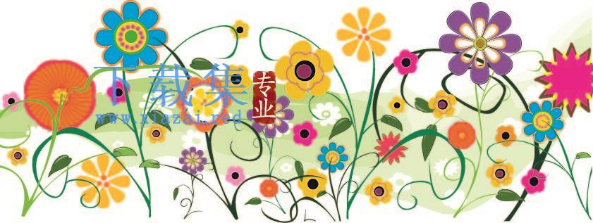 五颜六色的矢量花卉花朵AI矢量素材  第1张