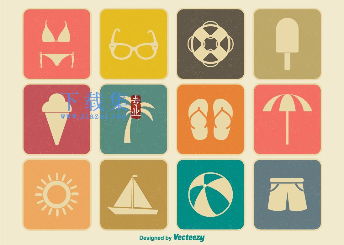 夏日夏季暑期旅行图标EPS元素