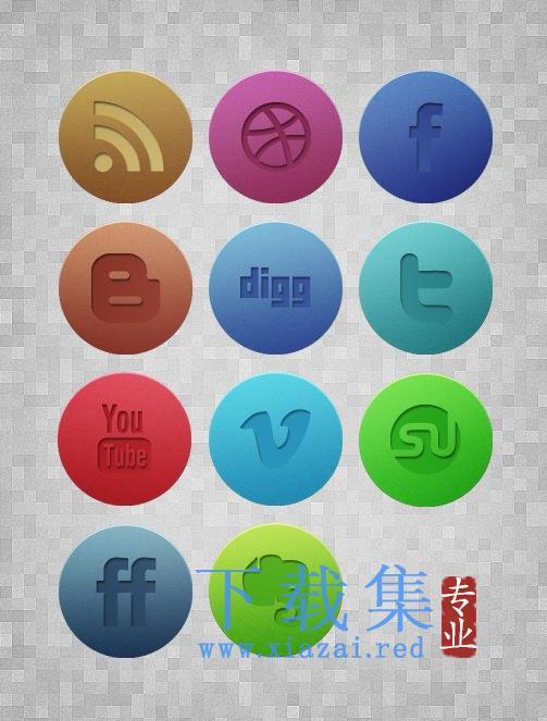 11个圆形网络社交媒体PNG免抠图