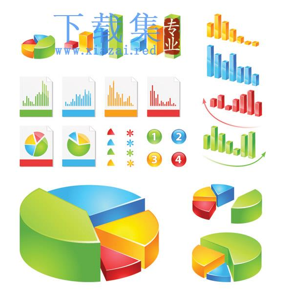 饼图和柱形图业务分析矢量素材