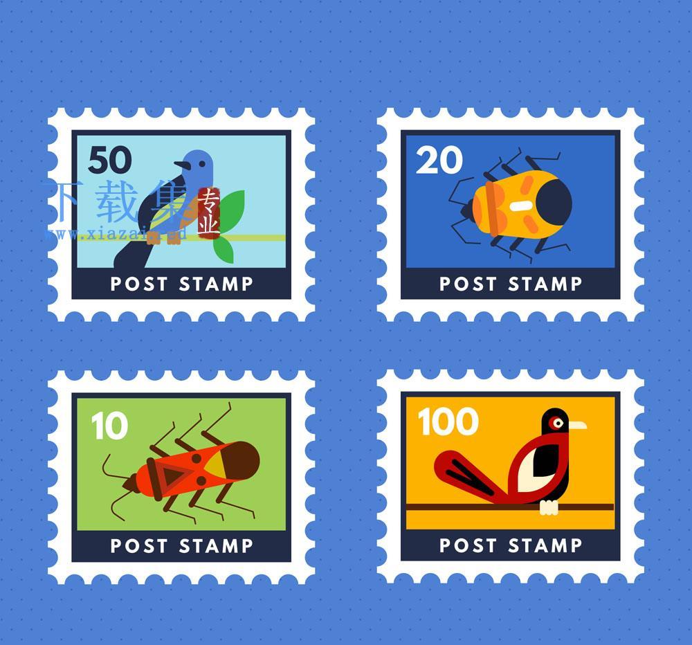 4个创意鸟类和昆虫类邮票矢量素材