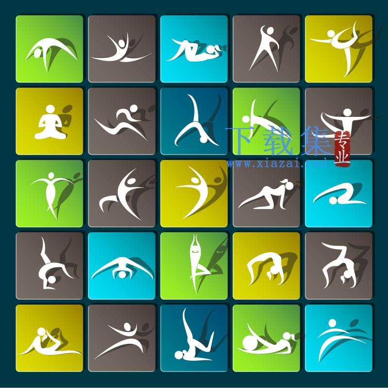 美丽漂亮的瑜伽运动EPS矢量图标  第1张