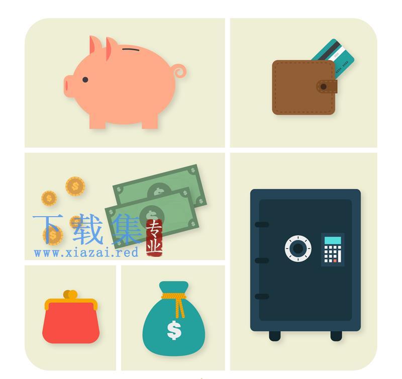 6个金融元素图标AI矢量素材