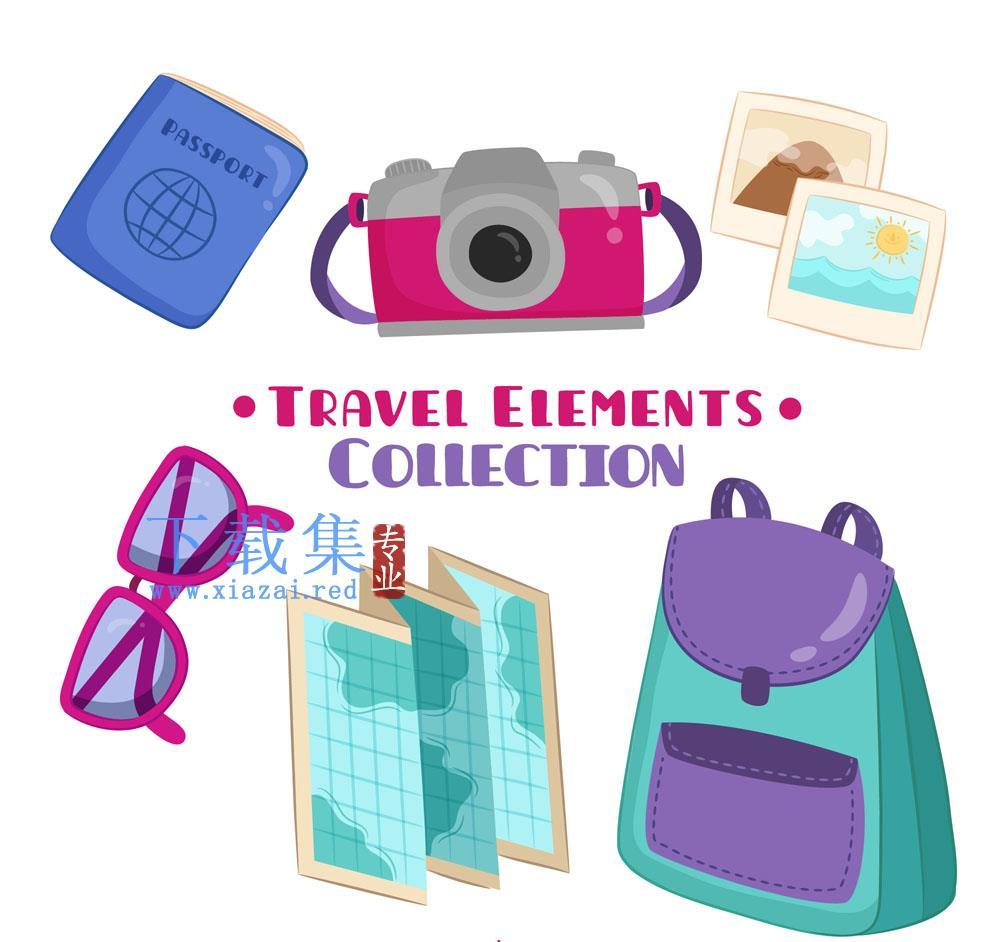 6款卡通旅游用品矢量素材
