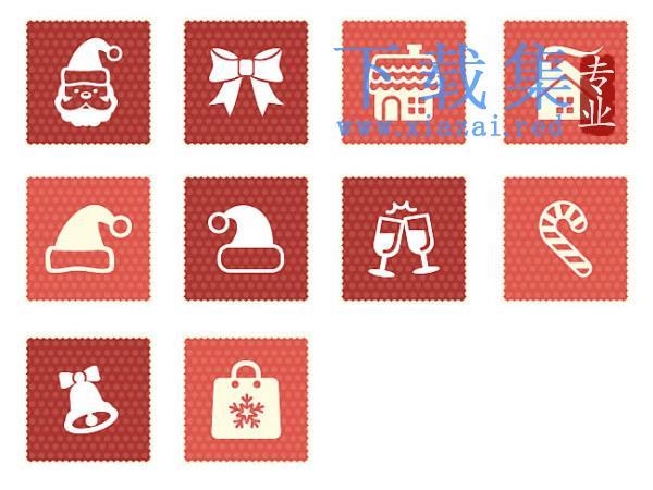 10个圣诞节红色PNG免抠图标