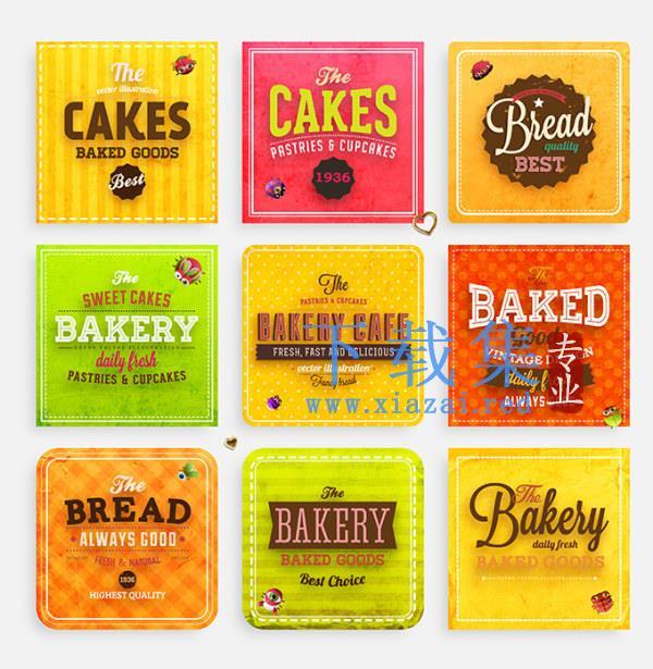 9个西餐面包和咖啡文字标签牌EPS矢量元素  第1张