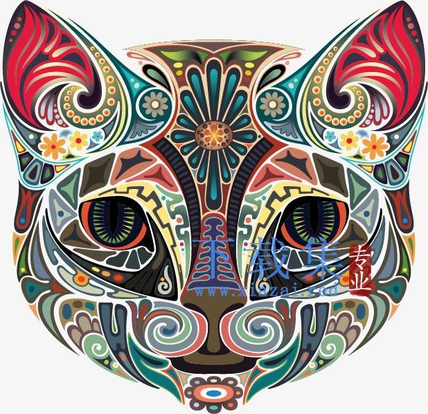 漂亮的卡通彩绘猫头矢量模板