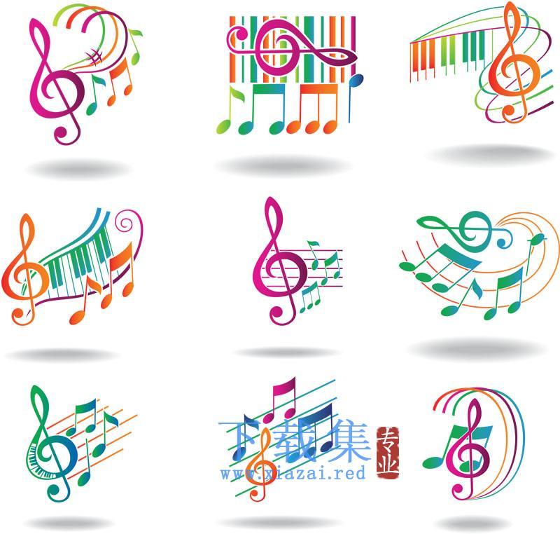 七彩动态音符,音乐符号AI矢量元素  第1张