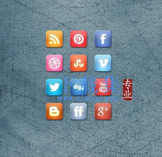 12个网络媒体网络社交PNG免抠图标