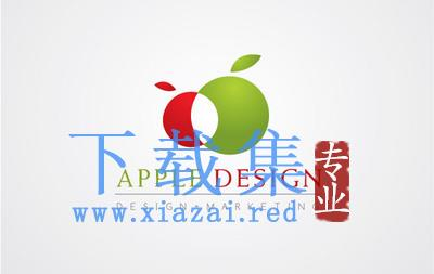 红绿苹果交替的LOGO标志AI矢量素材  第1张