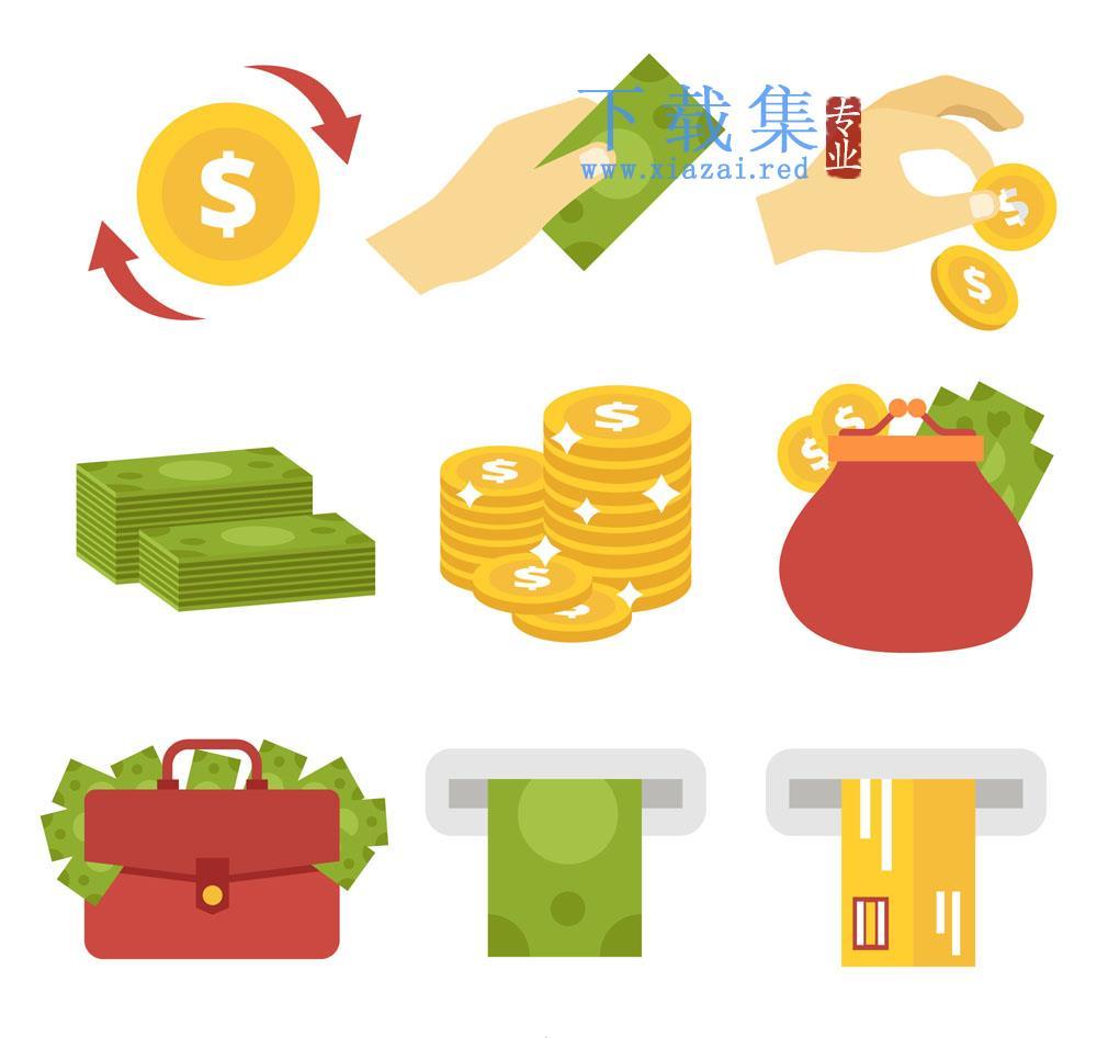 9个创意金融图标AI矢量素材