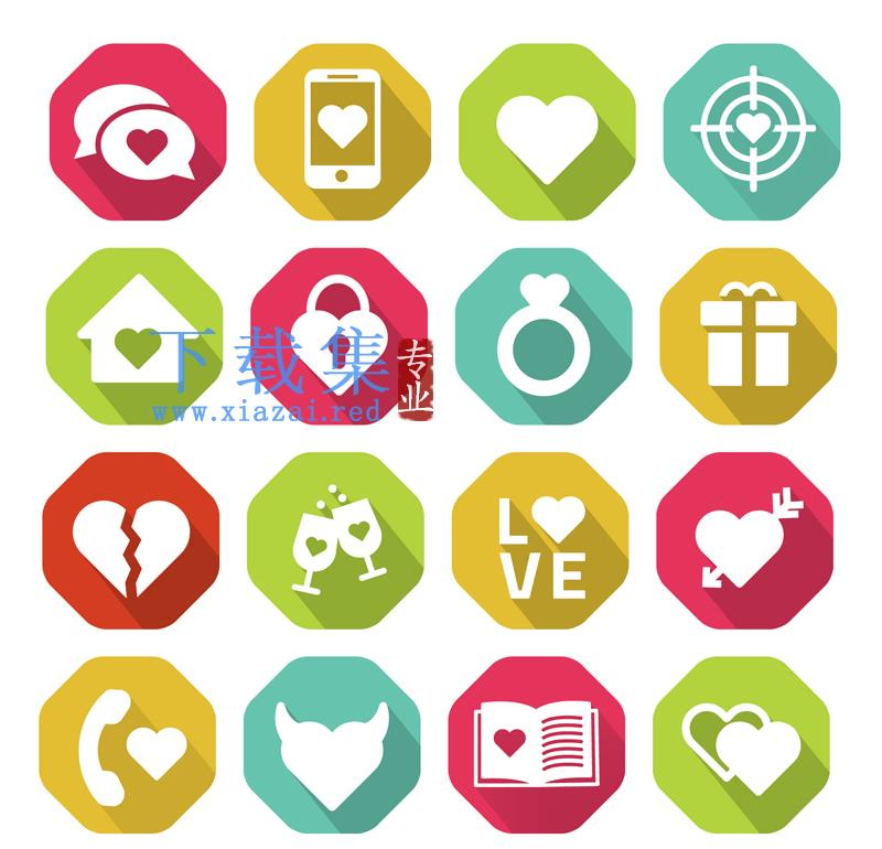 16个爱情元素ai矢量图标