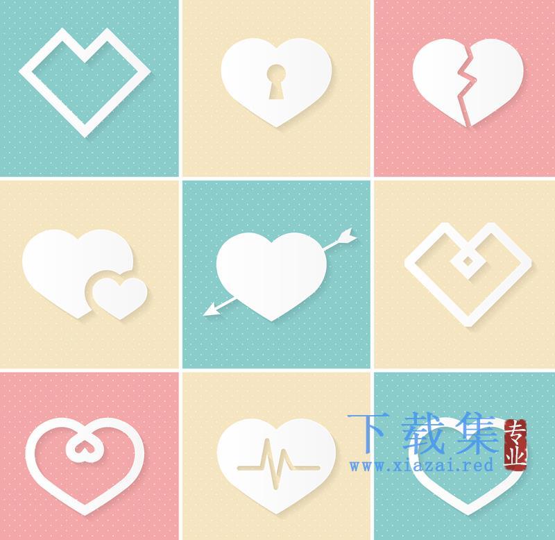 9个白色爱情AI矢量图标  第1张