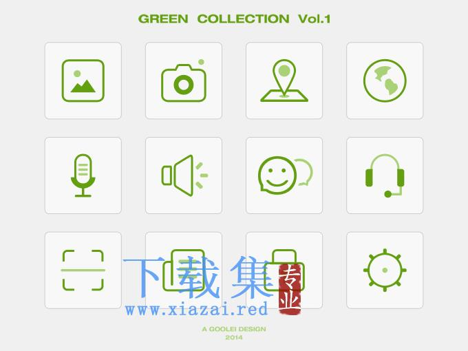绿色网络图标PSD素材
