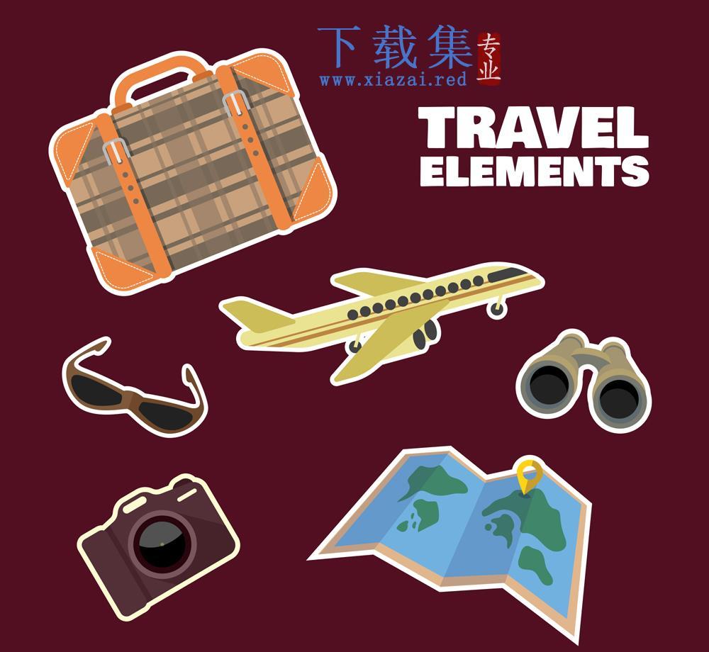 6款彩色旅行用品标签贴纸矢量素材