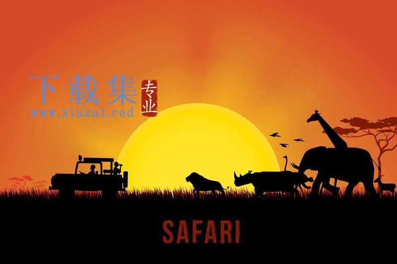 非洲部落日落动物背景素材
