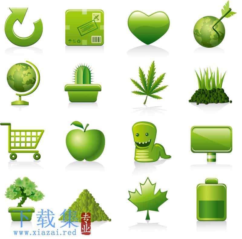 创意绿色植物AI矢量图标  第1张