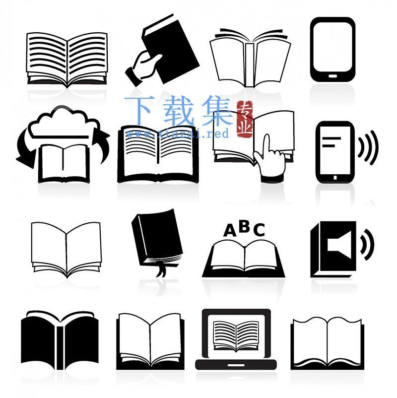 黑色书本阅读,电子书AI&EPS矢量素材