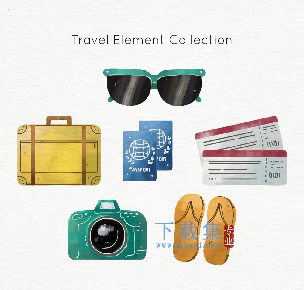 6款创意彩色旅行矢量元素