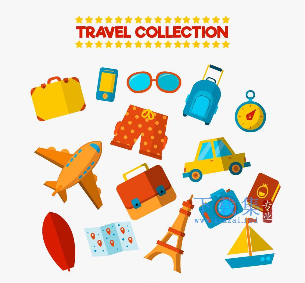 15款彩色扁平化旅游图标矢量素材
